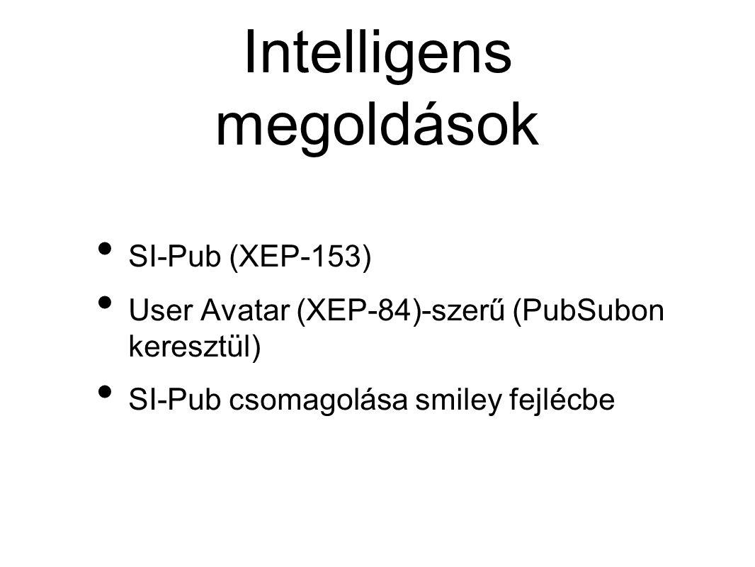 Intelligens megoldások • SI-Pub (XEP-153) • User Avatar (XEP-84)-szerű (PubSubon keresztül) • SI-Pub csomagolása smiley fejlécbe