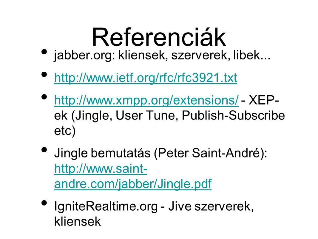 • jabber.org: kliensek, szerverek, libek...