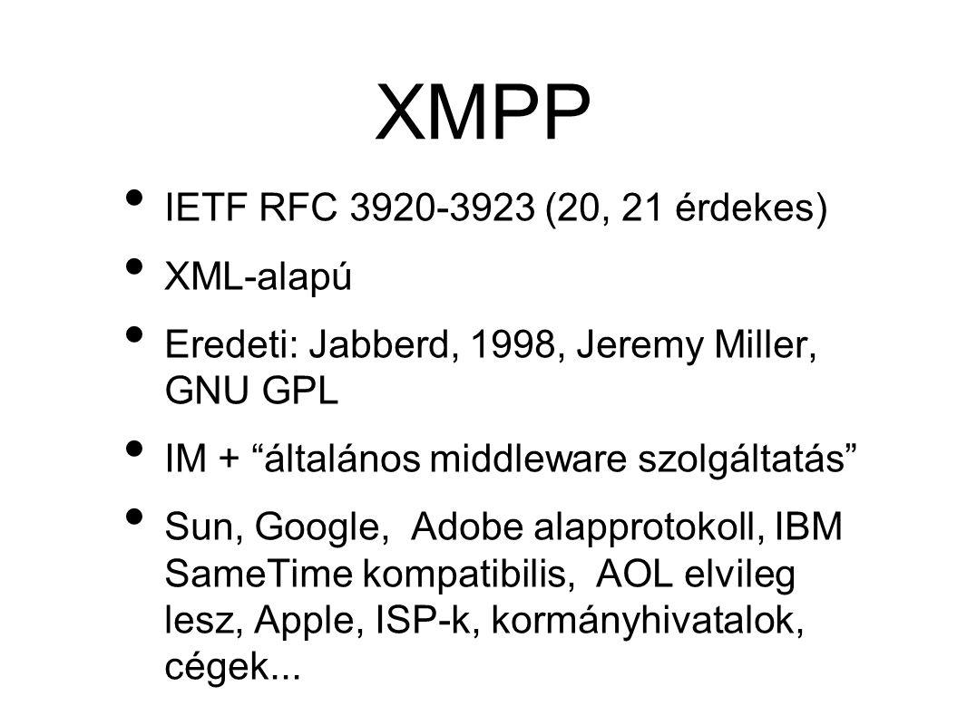 XMPP • IETF RFC 3920-3923 (20, 21 érdekes) • XML-alapú • Eredeti: Jabberd, 1998, Jeremy Miller, GNU GPL • IM + általános middleware szolgáltatás • Sun, Google, Adobe alapprotokoll, IBM SameTime kompatibilis, AOL elvileg lesz, Apple, ISP-k, kormányhivatalok, cégek...