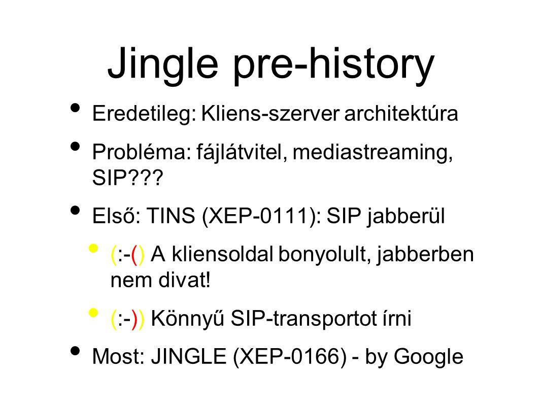 Jingle pre-history • Eredetileg: Kliens-szerver architektúra • Probléma: fájlátvitel, mediastreaming, SIP??.
