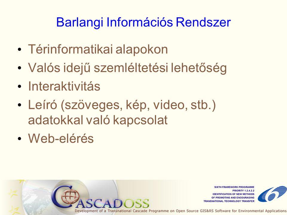 Barlangi Információs Rendszer • Térinformatikai alapokon • Valós idejű szemléltetési lehetőség • Interaktivitás • Leíró (szöveges, kép, video, stb.) a