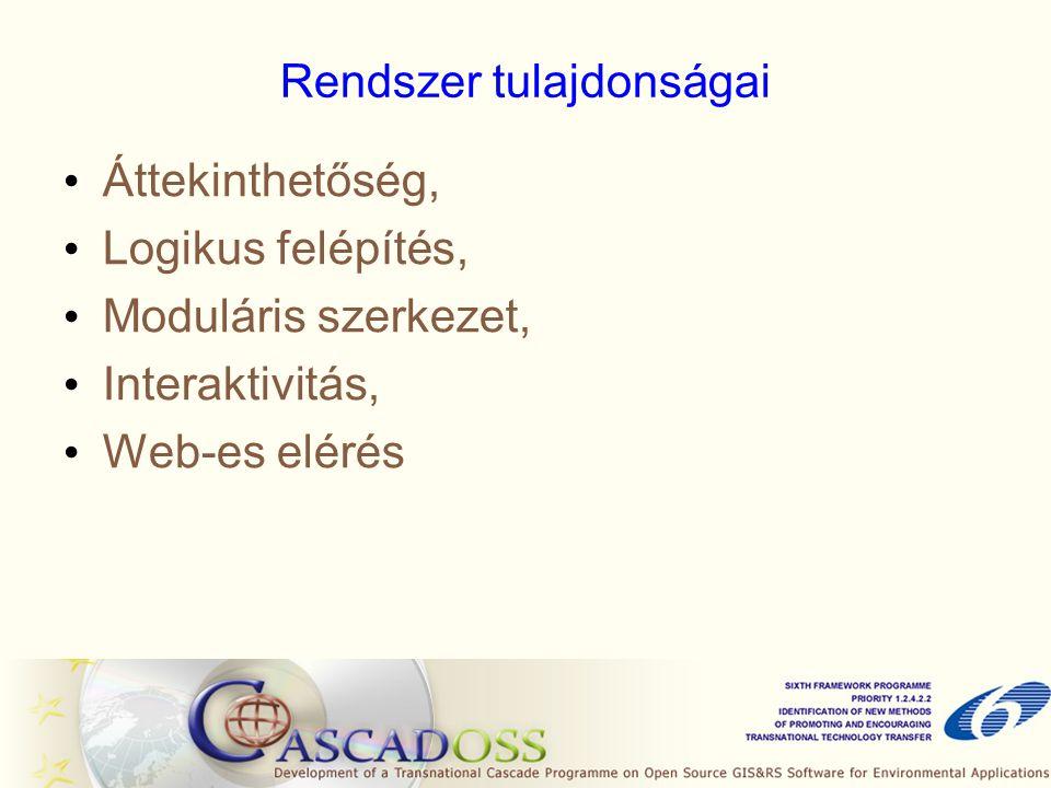 Rendszer tulajdonságai • Áttekinthetőség, • Logikus felépítés, • Moduláris szerkezet, • Interaktivitás, • Web-es elérés