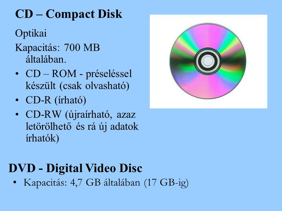 CD – Compact Disk Optikai Kapacitás: 700 MB általában. •CD – ROM - préseléssel készült (csak olvasható) •CD-R (írható) •CD-RW (újraírható, azaz letörö