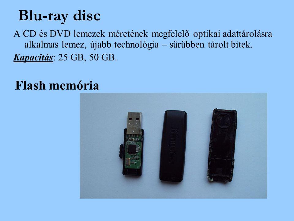 A CD és DVD lemezek méretének megfelelő optikai adattárolásra alkalmas lemez, újabb technológia – sűrűbben tárolt bitek. Kapacitás: 25 GB, 50 GB. Flas