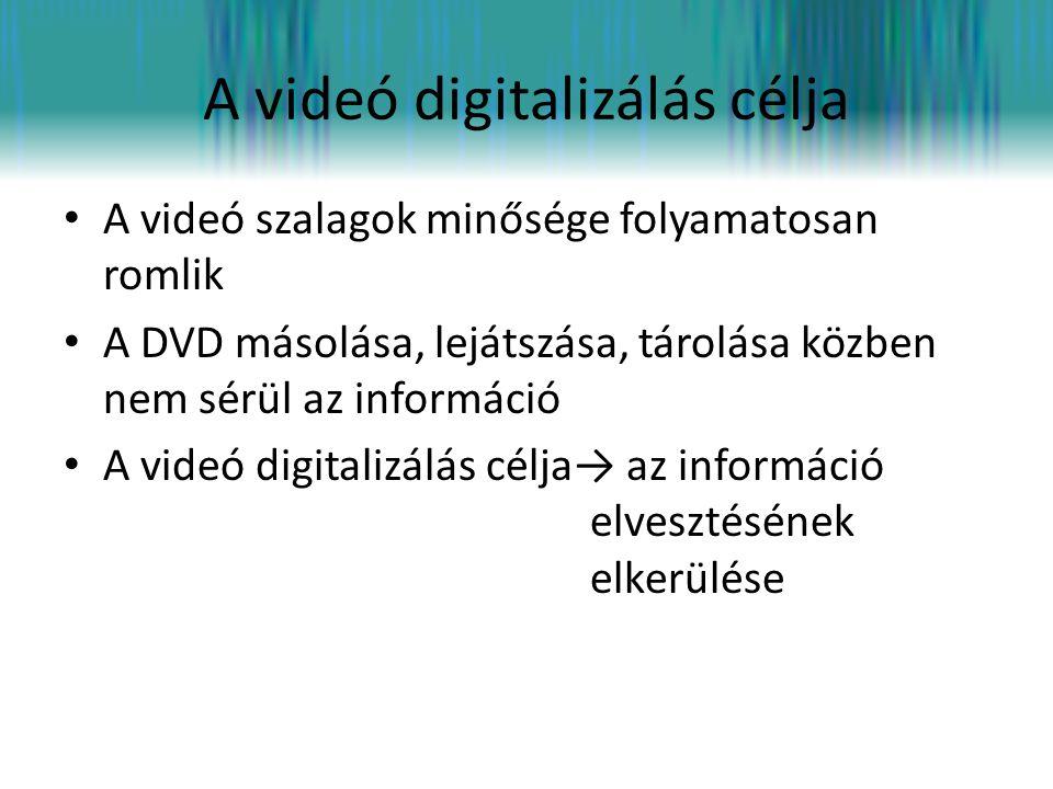 A digitalizálás menete • VHS kazetta analóg jelét DVD-re másolásakor átalakítjuk digitális jellé, (1/0 bitsorozat) • →formázás(konvertálás) • Digitális formátumban könnyen szerkeszthetjük az anyagot • A digitalizálás kis mértékű zajosodással jár (kvantálási zaj) • Nem romlik a minősége • A forrásnál jobb minőségű videót digitalizálással sem lehet készíteni.