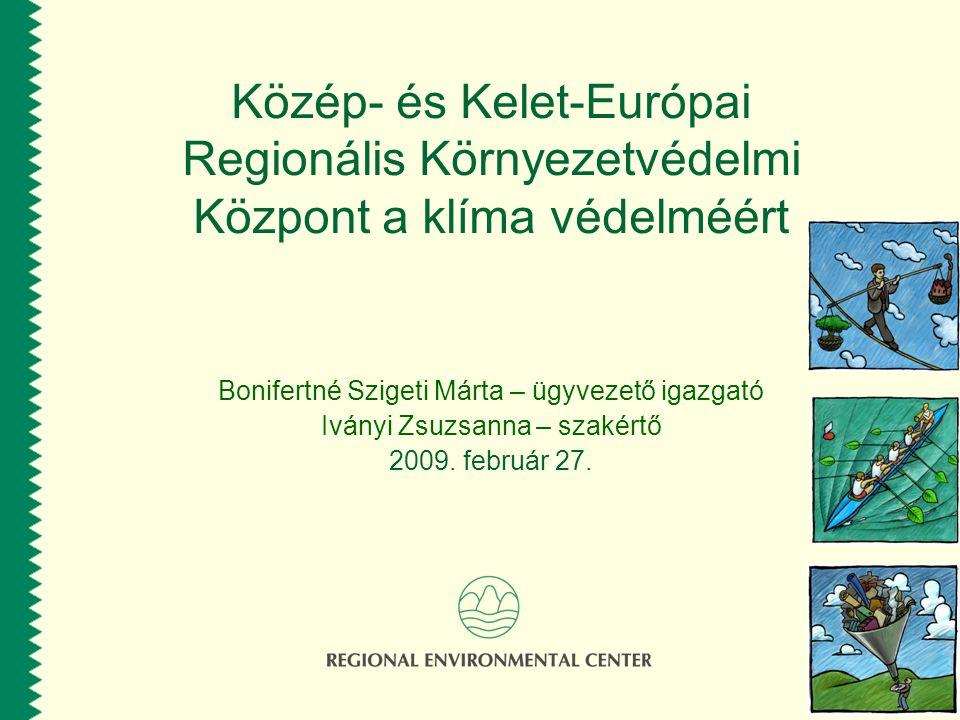 Közép- és Kelet-Európai Regionális Környezetvédelmi Központ a klíma védelméért Bonifertné Szigeti Márta – ügyvezető igazgató Iványi Zsuzsanna – szakér
