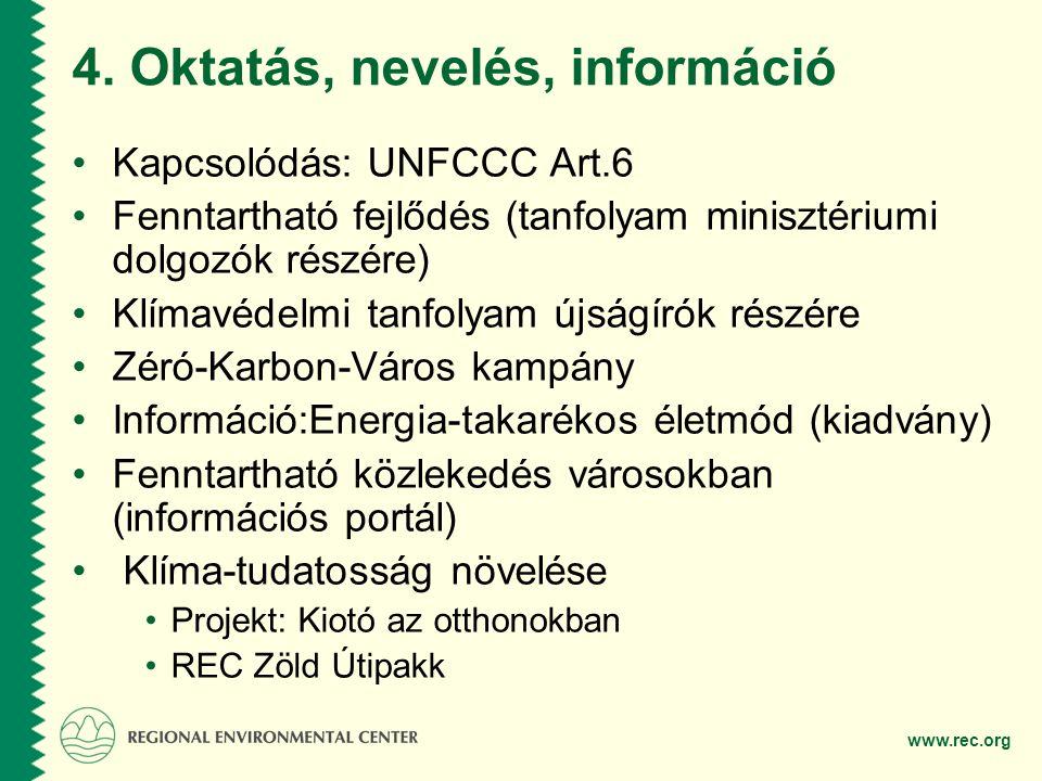 www.rec.org 4. Oktatás, nevelés, információ •Kapcsolódás: UNFCCC Art.6 •Fenntartható fejlődés (tanfolyam minisztériumi dolgozók részére) •Klímavédelmi