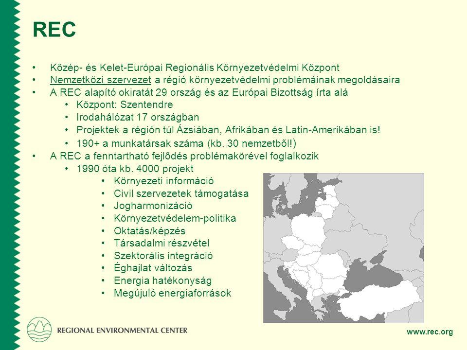 www.rec.org REC •Közép- és Kelet-Európai Regionális Környezetvédelmi Központ •Nemzetközi szervezet a régió környezetvédelmi problémáinak megoldásaira