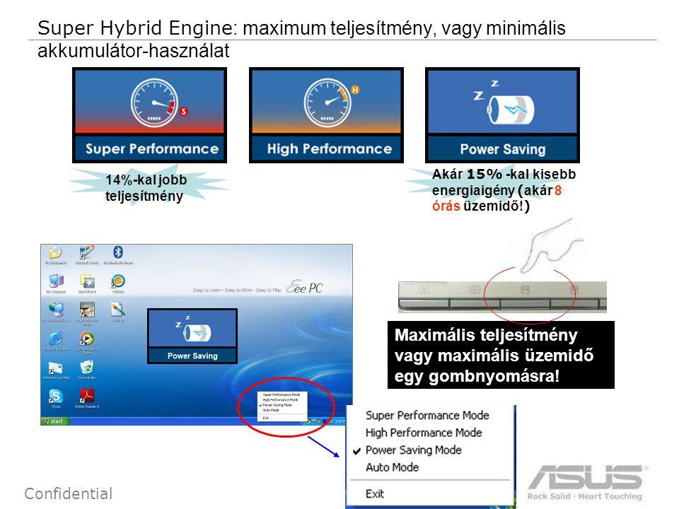 12 Confidential Super Hybrid Engine : maximum teljesítmény, vagy minimális akkumulátor-használat 14%-kal jobb teljesítmény Akár 15% -kal kisebb energiaigény ( akár 8 órás üzemidő.