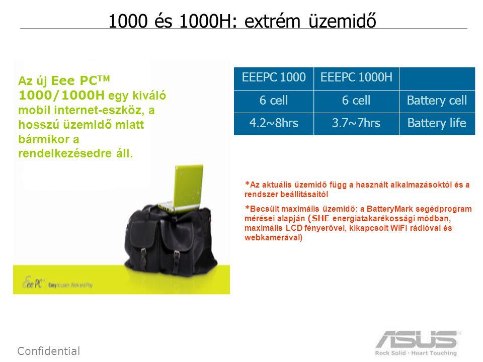 13 Confidential 1000 és 1000H: extrém üzemidő Az új Eee PC TM 1000/1000H egy kiváló mobil internet-eszköz, a hosszú üzemidő miatt bármikor a rendelkez