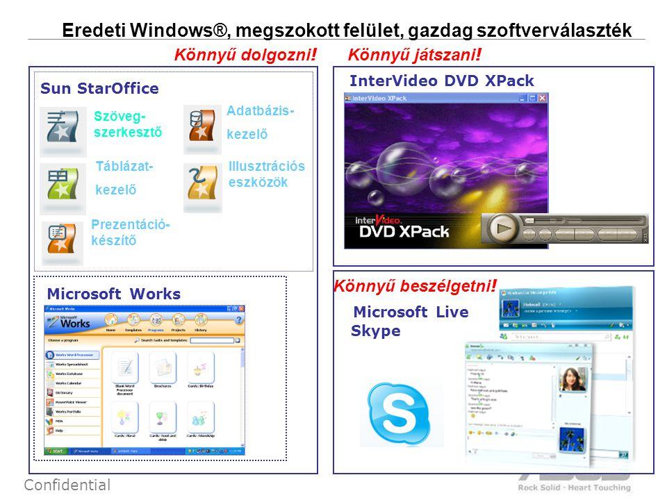 14 Confidential Eredeti Windows®, megszokott felület, gazdag szoftverválaszték Könnyű beszélgetni ! Könnyű dolgozni ! Prezentáció- készítő Adatbázis-