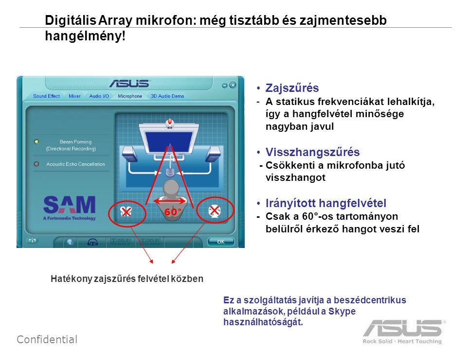 17 Confidential Digitális Array mikrofon: még tisztább és zajmentesebb hangélmény! •Zajszűrés -A statikus frekvenciákat lehalkítja, így a hangfelvétel