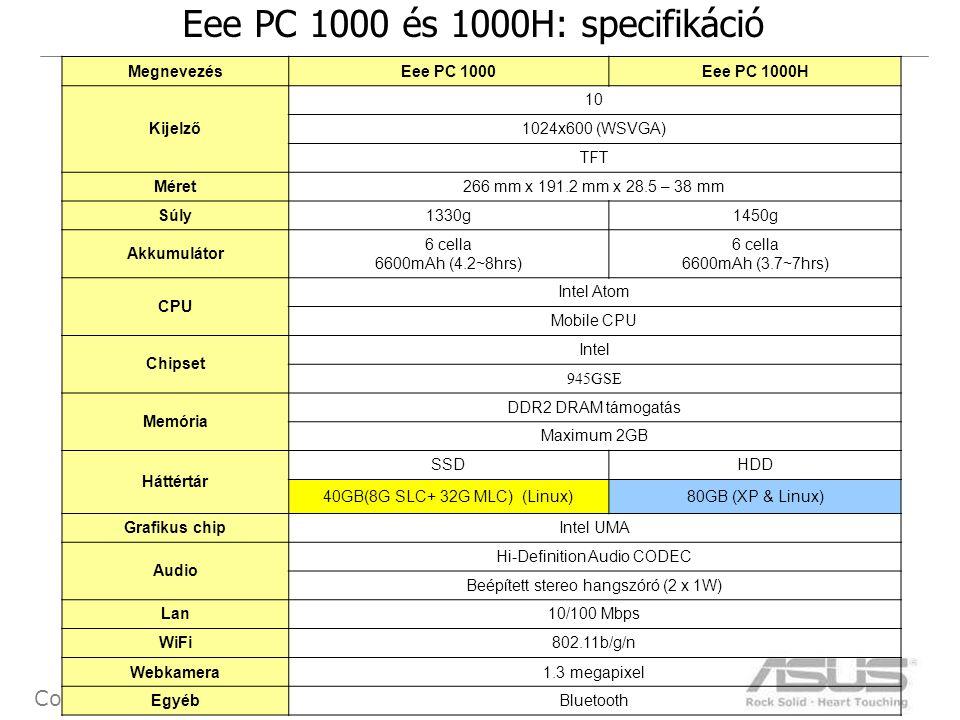 21 Confidential Eee PC 1000 és 1000H: specifikáció MegnevezésEee PC 1000Eee PC 1000H Kijelző 10 1024x600 (WSVGA) TFT Méret266 mm x 191.2 mm x 28.5 – 38 mm Súly1330g1450g Akkumulátor 6 cella 6600mAh (4.2~8hrs) 6 cella 6600mAh (3.7~7hrs) CPU Intel Atom Mobile CPU Chipset Intel 945GSE Memória DDR2 DRAM támogatás Maximum 2GB Háttértár SSDHDD 40GB(8G SLC+ 32G MLC) (Linux)80GB (XP & Linux) Grafikus chipIntel UMA Audio Hi-Definition Audio CODEC Beépített stereo hangszóró (2 x 1W) Lan10/100 Mbps WiFi802.11b/g/n Webkamera1.3 megapixel EgyébBluetooth