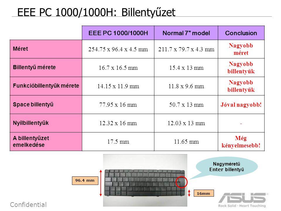 9 Confidential EEE PC 1000/1000H: Billentyűzet EEE PC 1000/1000HNormal 7