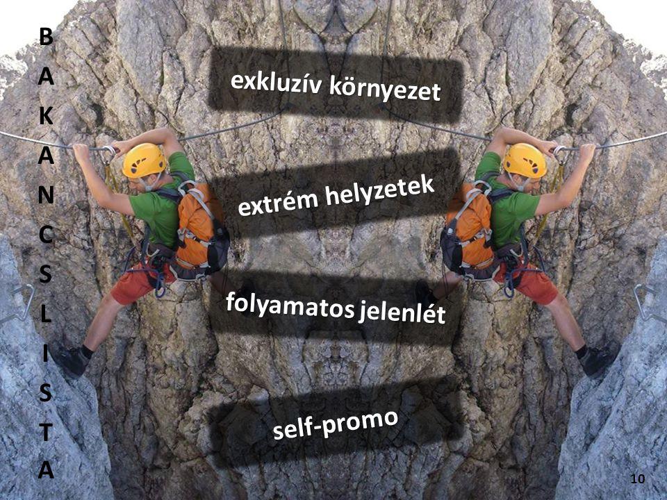 10 extrém helyzetek exkluzív környezet self-promo folyamatos jelenlét