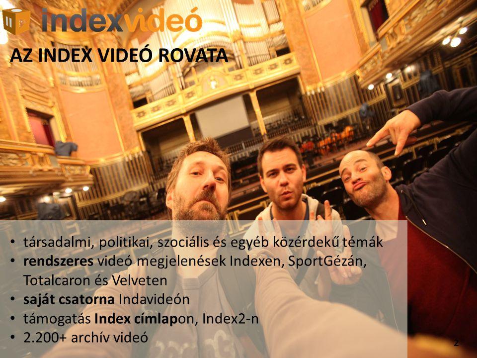 2 AZ INDEX VIDEÓ ROVATA • társadalmi, politikai, szociális és egyéb közérdekű témák • rendszeres videó megjelenések Indexen, SportGézán, Totalcaron és Velveten • saját csatorna Indavideón • támogatás Index címlapon, Index2-n • 2.200+ archív videó