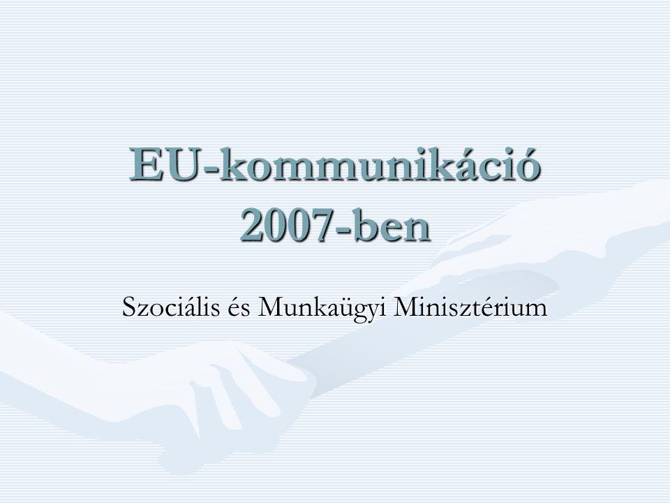 Témáink SZOCIÁLIS TERÜLETEN •Egyenlő Esélyek Mindenki Számára Európai Év - 2007 –A sokszínűségért - A diszkrimináció ellen kampány •Mainstream kormányzati munka –Roma Integráció Évtizede 2005-2015 –Nők elleni, családon belüli erőszak kampány – Európa Tanács –Fiatalok Lendületben Program (pl.