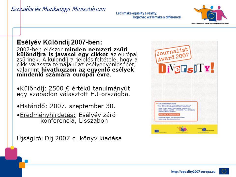 Szociális és Munkaügyi Minisztérium Esélyév Különdíj 2007-ben: 2007-ben először minden nemzeti zsűri különdíjra is javasol egy cikket az európai zsűrinek.