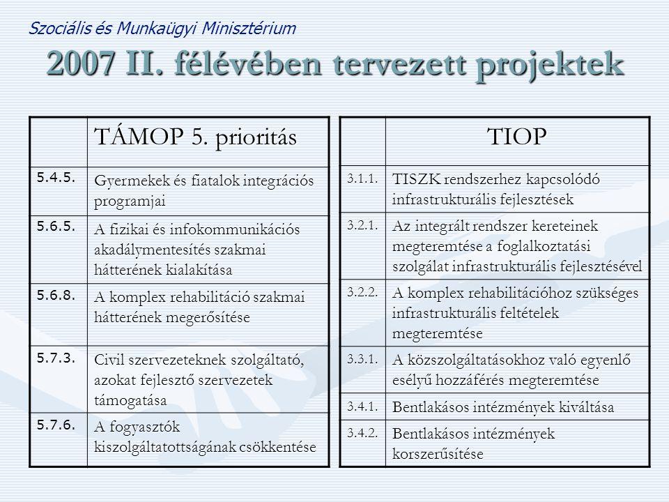 Szociális és Munkaügyi Minisztérium 2007 II.félévében tervezett projektek TÁMOP 5.