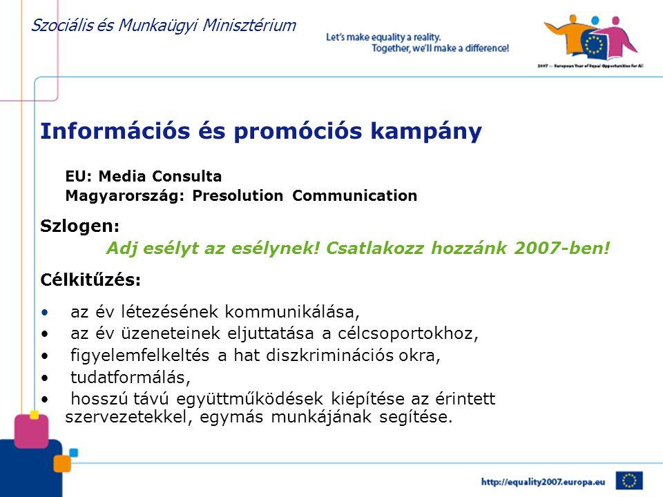 Szociális és Munkaügyi Minisztérium Információs és promóciós kampány EU: Media Consulta Magyarország: Presolution Communication Szlogen: Adj esélyt az esélynek.