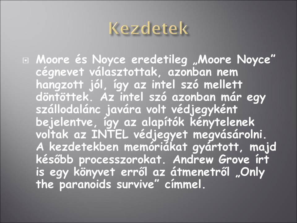 """ Moore és Noyce eredetileg """"Moore Noyce"""" cégnevet választottak, azonban nem hangzott jól, így az intel szó mellett döntöttek. Az intel szó azonban má"""