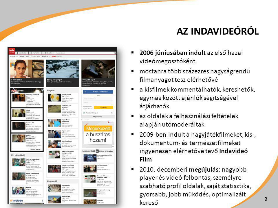 AZ INDAVIDEÓRÓL  2006 júniusában indult az első hazai videómegosztóként  mostanra több százezres nagyságrendű filmanyagot tesz elérhetővé  a kisfilmek kommentálhatók, kereshetők, egymás között ajánlók segítségével átjárhatók  az oldalak a felhasználási feltételek alapján utómoderáltak  2009-ben indult a nagyjátékfilmeket, kis-, dokumentum- és természetfilmeket ingyenesen elérhetővé tevő Indavideó Film  2010.