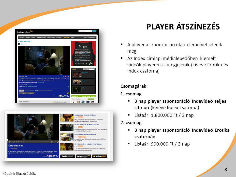 PLAYER ÁTSZÍNEZÉS  A player a szponzor arculati elemeivel jelenik meg  Az Index címlapi médialepedőben kiemelt videók playerén is megjelenik (kivéve
