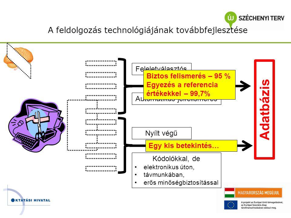 A feldolgozás technológiájának továbbfejlesztése Feleletválasztós Automatikus jelfelismerés Adatbázis Nyílt végű Kódolókkal, de •elektronikus úton, •t