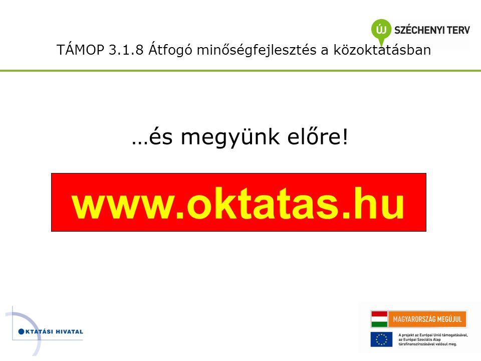 TÁMOP 3.1.8 Átfogó minőségfejlesztés a közoktatásban …és megyünk előre! www.oktatas.hu