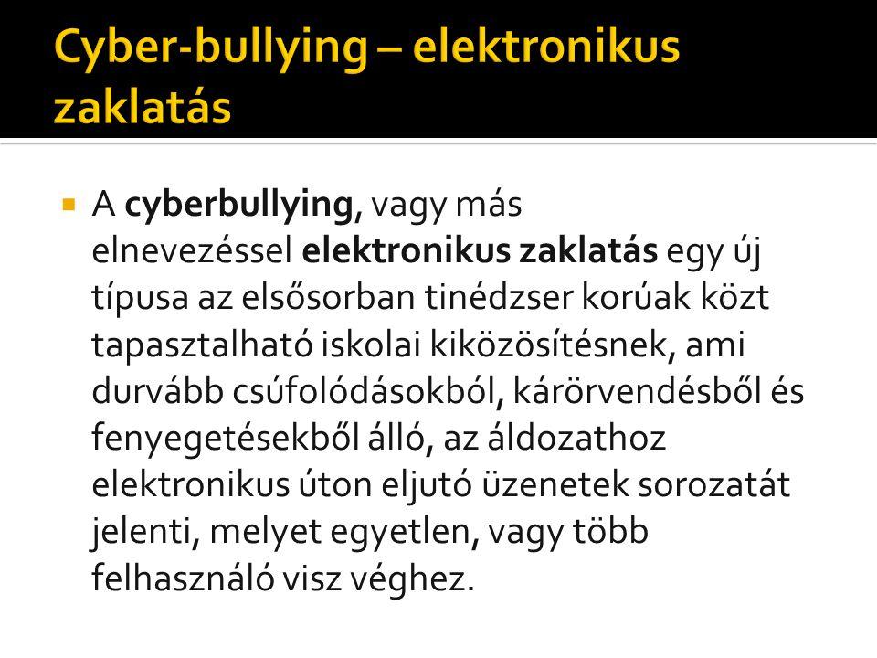 A cyberbullying, vagy más elnevezéssel elektronikus zaklatás egy új típusa az elsősorban tinédzser korúak közt tapasztalható iskolai kiközösítésnek, ami durvább csúfolódásokból, kárörvendésből és fenyegetésekből álló, az áldozathoz elektronikus úton eljutó üzenetek sorozatát jelenti, melyet egyetlen, vagy több felhasználó visz véghez.