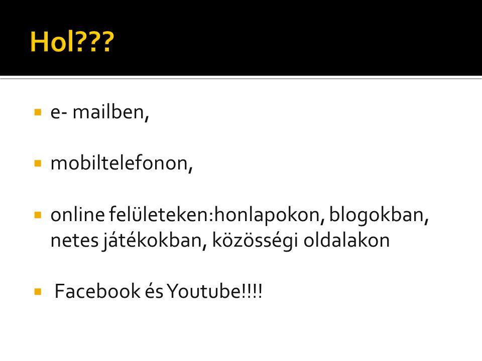  e- mailben,  mobiltelefonon,  online felületeken:honlapokon, blogokban, netes játékokban, közösségi oldalakon  Facebook és Youtube!!!!