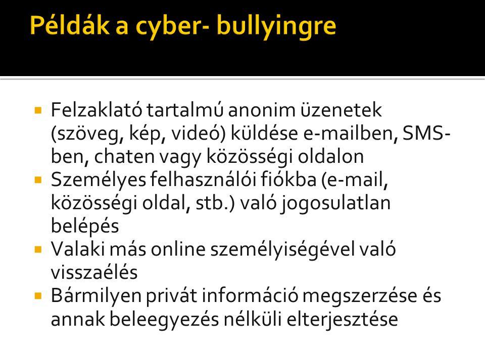  Felzaklató tartalmú anonim üzenetek (szöveg, kép, videó) küldése e-mailben, SMS- ben, chaten vagy közösségi oldalon  Személyes felhasználói fiókba