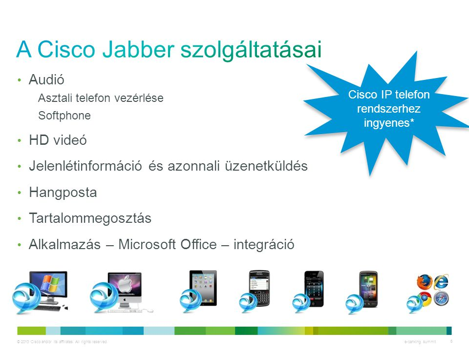 © 2013 Cisco and/or its affiliates. All rights reserved. e-banking summit 6 • Audió Asztali telefon vezérlése Softphone • HD videó • Jelenlétinformáci