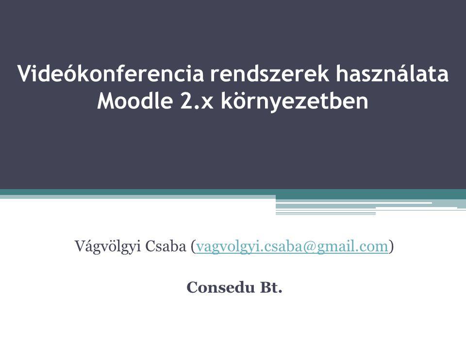 Videókonferencia rendszerek használata Moodle 2.x környezetben Vágvölgyi Csaba (vagvolgyi.csaba@gmail.com)vagvolgyi.csaba@gmail.com Consedu Bt.