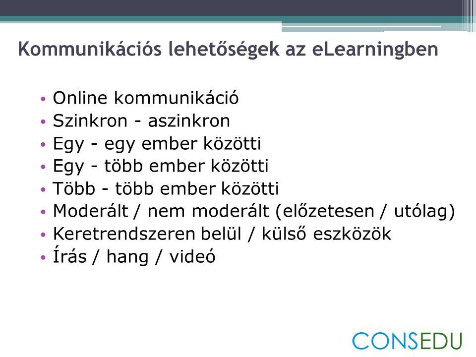 Kommunikációs lehetőségek az eLearningben • Online kommunikáció • Szinkron - aszinkron • Egy - egy ember közötti • Egy - több ember közötti • Több - több ember közötti • Moderált / nem moderált (előzetesen / utólag) • Keretrendszeren belül / külső eszközök • Írás / hang / videó