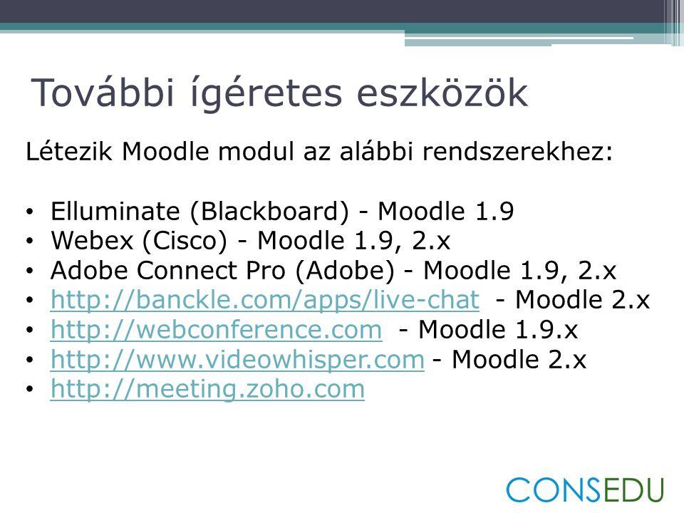 Létezik Moodle modul az alábbi rendszerekhez: • Elluminate (Blackboard) - Moodle 1.9 • Webex (Cisco) - Moodle 1.9, 2.x • Adobe Connect Pro (Adobe) - Moodle 1.9, 2.x • http://banckle.com/apps/live-chat - Moodle 2.x http://banckle.com/apps/live-chat • http://webconference.com - Moodle 1.9.x http://webconference.com • http://www.videowhisper.com - Moodle 2.x http://www.videowhisper.com • http://meeting.zoho.com http://meeting.zoho.com További ígéretes eszközök
