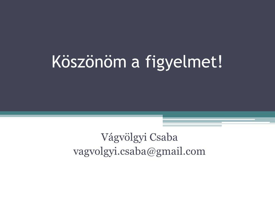Köszönöm a figyelmet! Vágvölgyi Csaba vagvolgyi.csaba@gmail.com