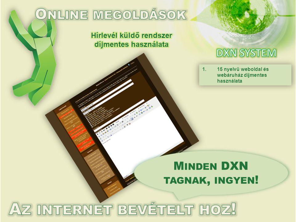 1.15 nyelvű weboldal és webáruház díjmentes használata M INDEN DXN TAGNAK, INGYEN !