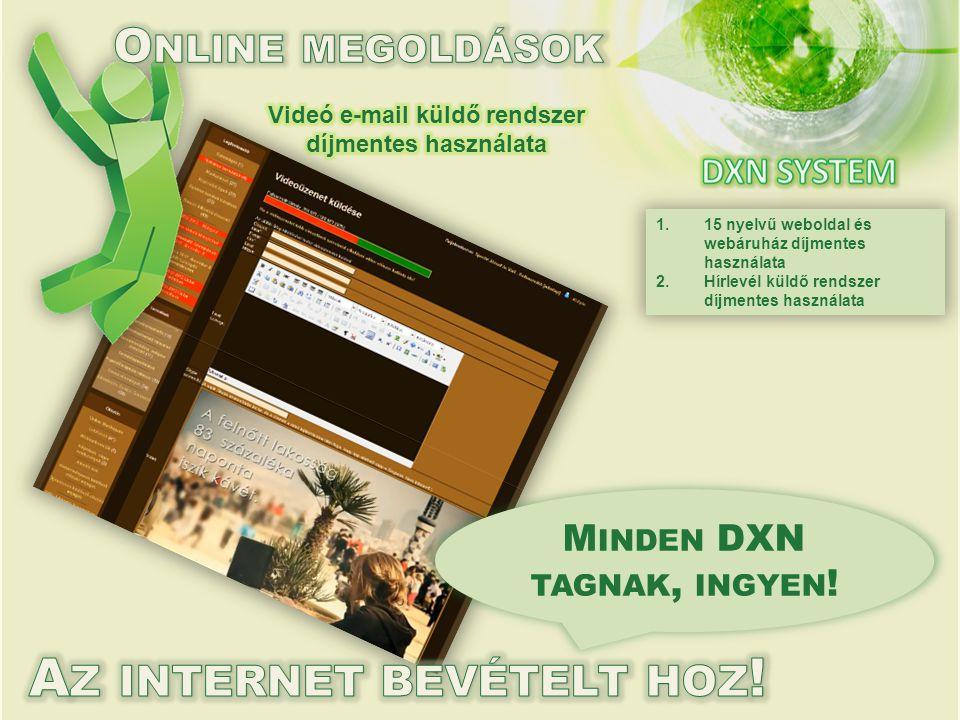 1.15 nyelvű weboldal és webáruház díjmentes használata 2.Hírlevél küldő rendszer díjmentes használata M INDEN DXN TAGNAK, INGYEN !