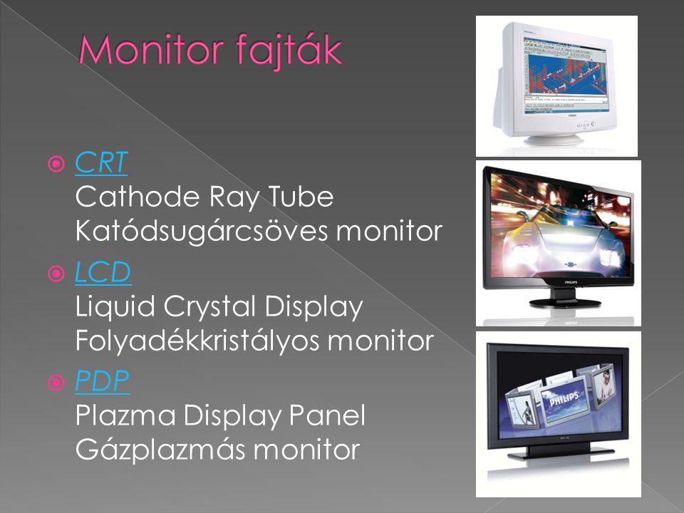 A monitorokon megjelenített kép minősége függ:  a monitor típusától  a videókártya minőségétől  a videó memória méretétől