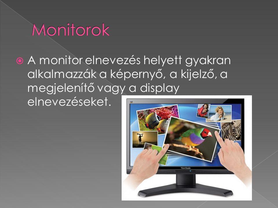  Egy-egy monitor rendszerint többféle felbontásban képes működni.