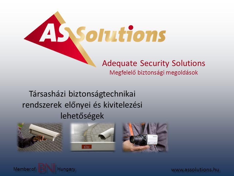 Rólunk www.assolutions.hu Member of Hungary Komplex vagyonvédelmi szolgáltatások  Őrzés-védelem (Telephelyek, Irodaházak)  Távfelügyelet (objektum felügyelet, gépjármű felügyelet)  Értékes csomagszállítás  Biztonságtechnika: (tervezés, telepítés, karbantartás) • Riasztó, beléptető, tűzjelző rendszerek • Kamerás megfigyelőrendszerek  Egyedi fejlesztésű Digitális videó rögzítő