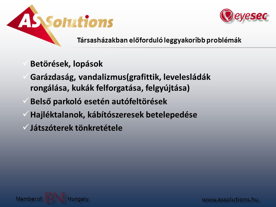 www.assolutions.hu Member of Hungary Társasházi biztonságtechnikai megoldások  Riasztórendszer - lakásonként, egyénre szabottan kialakítva  Távfelügyelet - 24 órás diszpécser szolgálat kivonuló járőrrel  Térfigyelő rendszer - a kamerákkal a társasházban történő események rögzítésre kerülnek, a képek kimenthetőek, bizonyítékként felhasználhatóak  Videó kaputelefon - vagyonvédelmi beléptető pontként szerepelhet