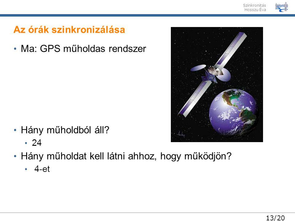 Szinkronitás Hosszu Éva 13/20 • Ma: GPS műholdas rendszer • Hány műholdból áll.