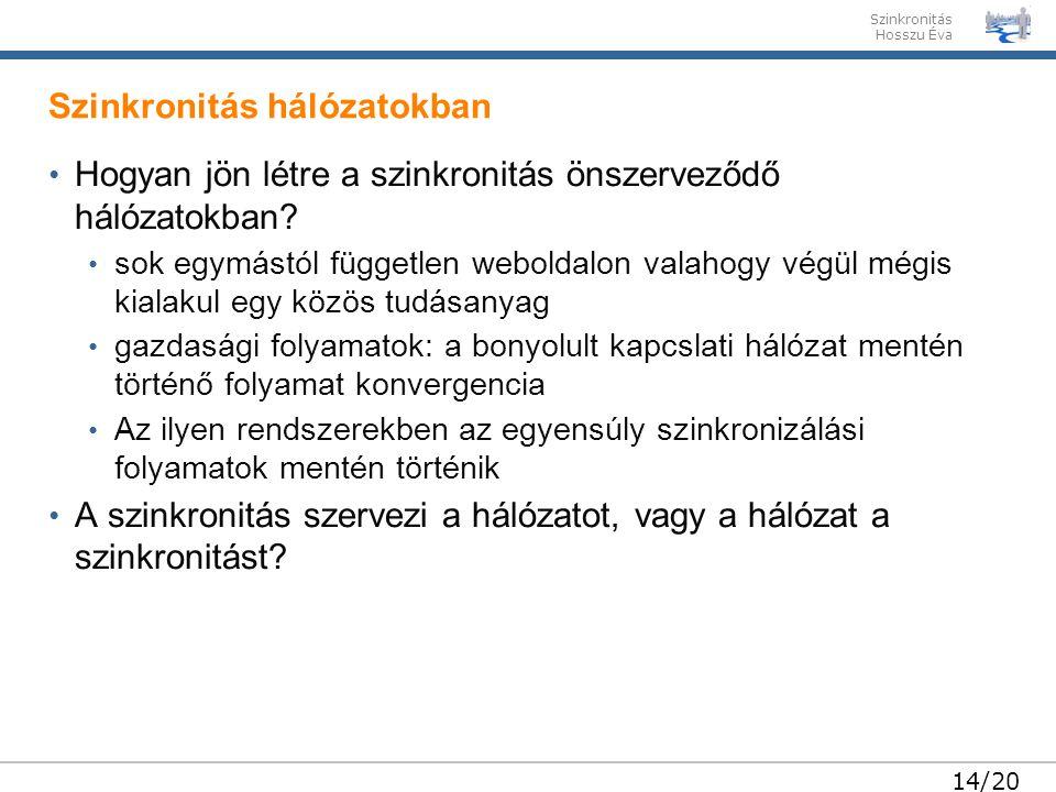 Szinkronitás Hosszu Éva 14/20 • Hogyan jön létre a szinkronitás önszerveződő hálózatokban.