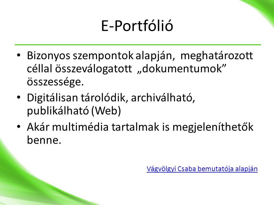 """E-Portfólió • Bizonyos szempontok alapján, meghatározott céllal összeválogatott """"dokumentumok összessége."""