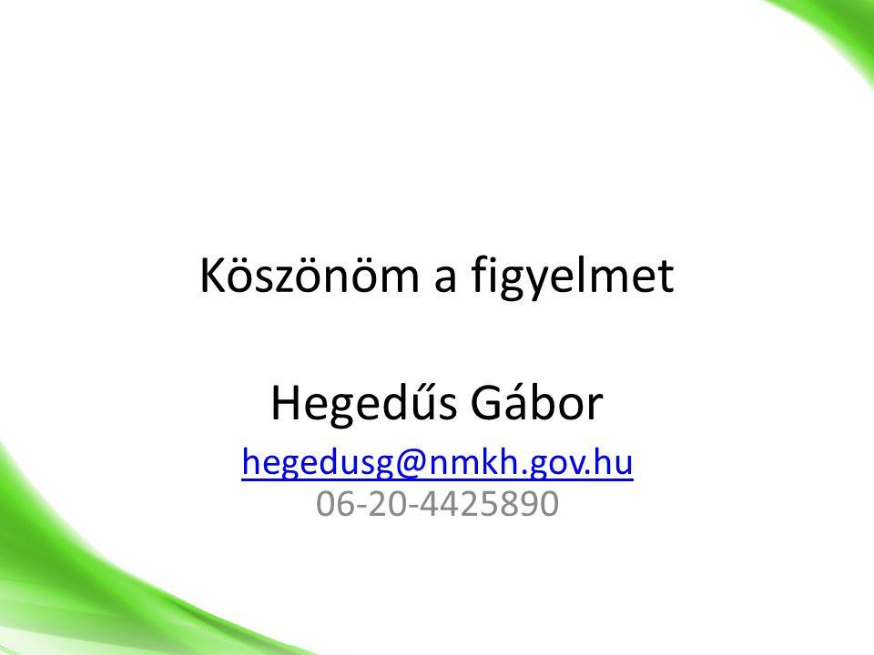 Köszönöm a figyelmet Hegedűs Gábor hegedusg@nmkh.gov.hu hegedusg@nmkh.gov.hu 06-20-4425890