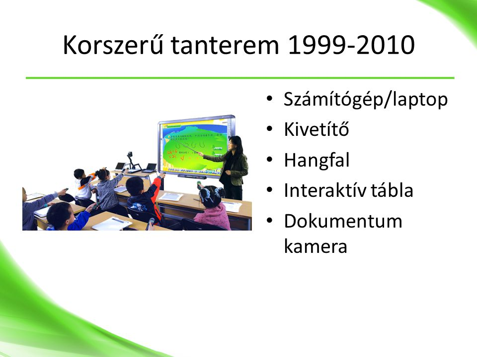 Korszerű tanterem 1999-2010 • Számítógép/laptop • Kivetítő • Hangfal • Interaktív tábla • Dokumentum kamera