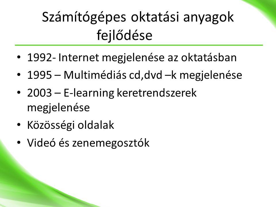 Számítógépes oktatási anyagok fejlődése • 1992- Internet megjelenése az oktatásban • 1995 – Multimédiás cd,dvd –k megjelenése • 2003 – E-learning keretrendszerek megjelenése • Közösségi oldalak • Videó és zenemegosztók