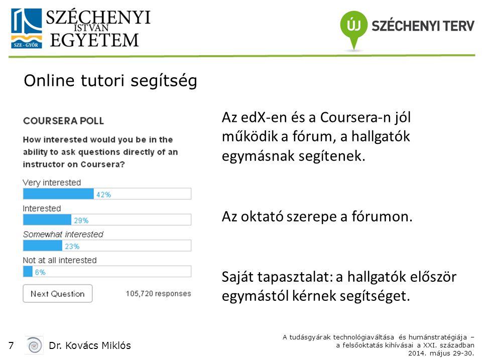 7Dr. Kovács Miklós A tudásgyárak technológiaváltása és humánstratégiája – a felsőoktatás kihívásai a XXI. században 2014. május 29-30. Online tutori s